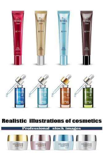 Realistic illustrations of cosmetics
