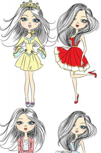 Hand-drawn girl clipart