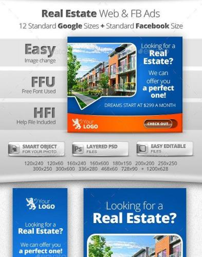 Real Estate Web & Facebook Banners Ads 11319120
