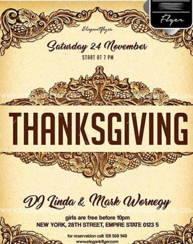 Thanksgiving Day V18 Flyer PSD Template