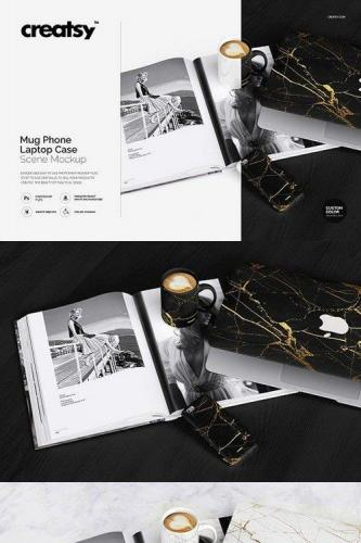 Mug Phone Laptop Case Scene Mockup